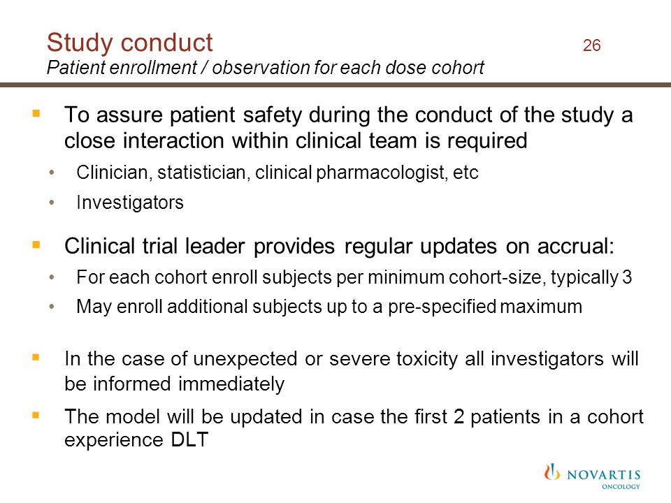 Study conduct 26 Patient enrollment / observation for each dose cohort