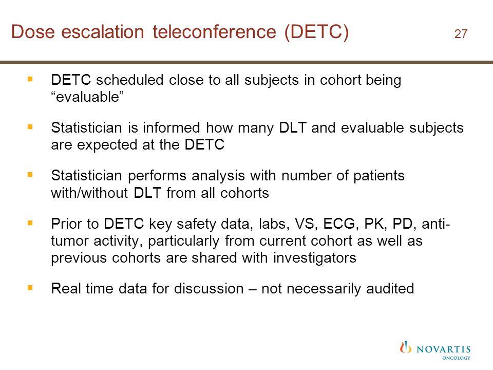 Dose escalation teleconference (DETC) 27