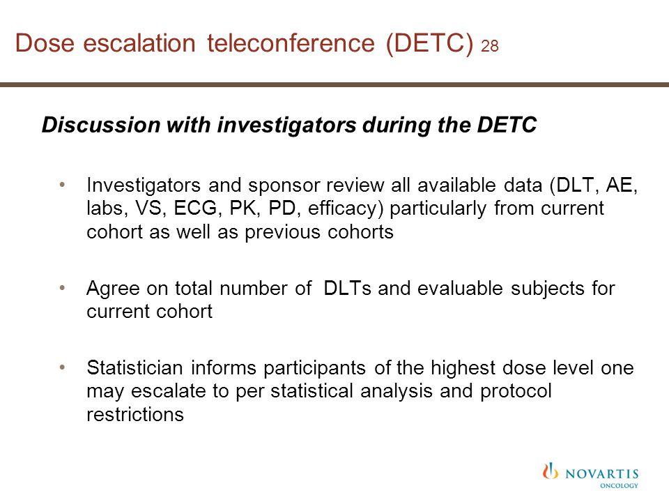 Dose escalation teleconference (DETC) 28