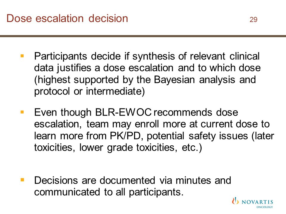 Dose escalation decision 29