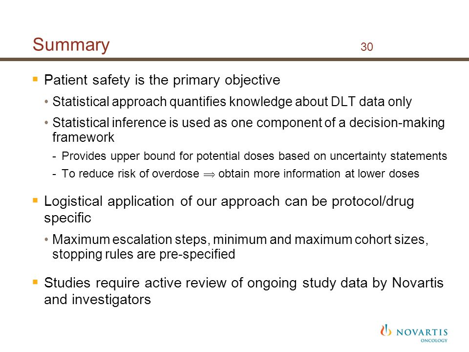Summary 30 Patient safety is the primary objective