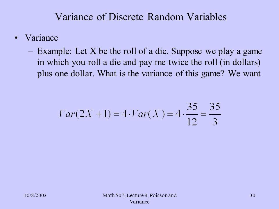 Variance of Discrete Random Variables