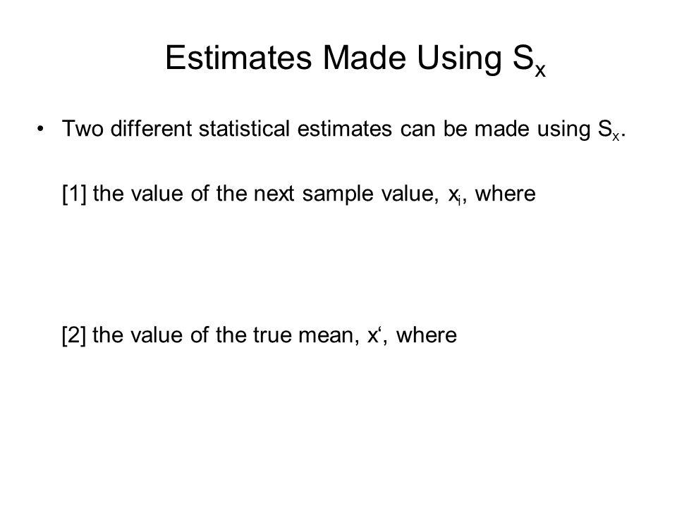 Estimates Made Using Sx