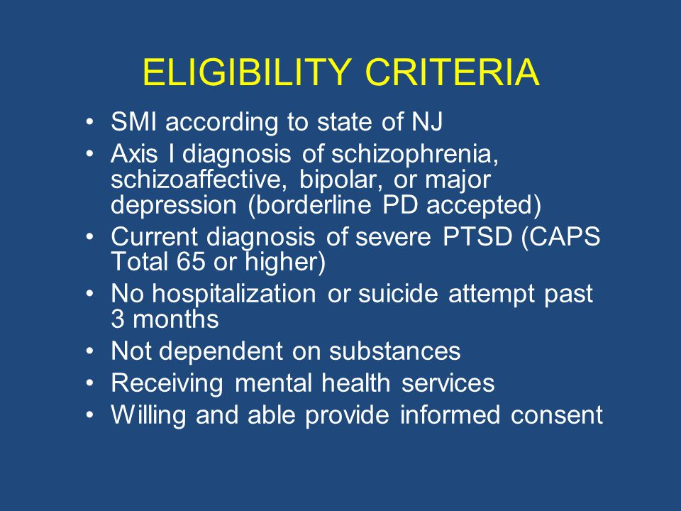 ELIGIBILITY CRITERIA SMI according to state of NJ