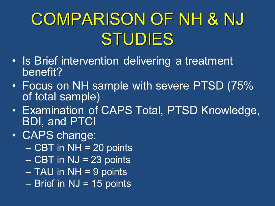COMPARISON OF NH & NJ STUDIES