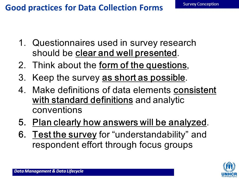 Good practices for Data Collection Forms