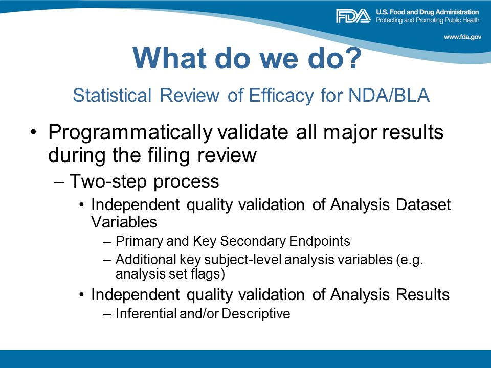 What do we do Statistical Review of Efficacy for NDA/BLA