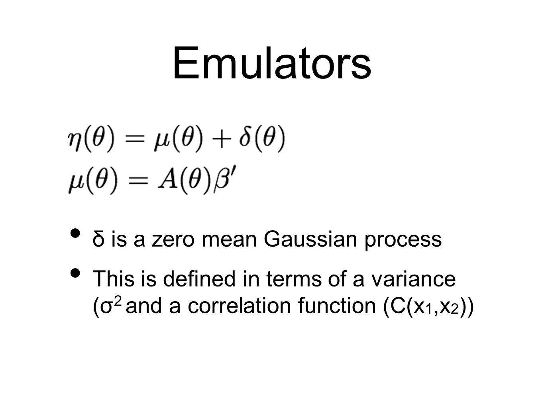 Emulators δ is a zero mean Gaussian process