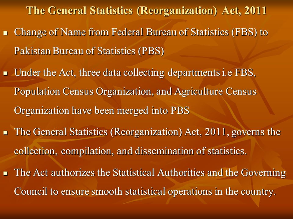 The General Statistics (Reorganization) Act, 2011