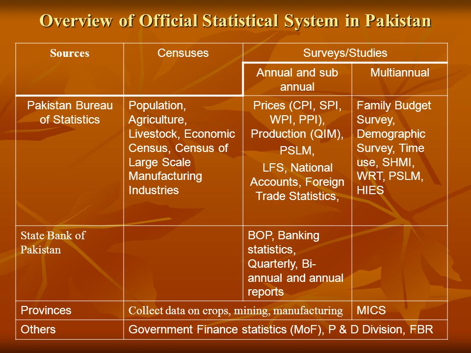 Overview of Official Statistical System in Pakistan