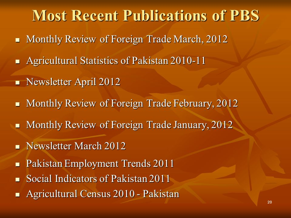 Most Recent Publications of PBS