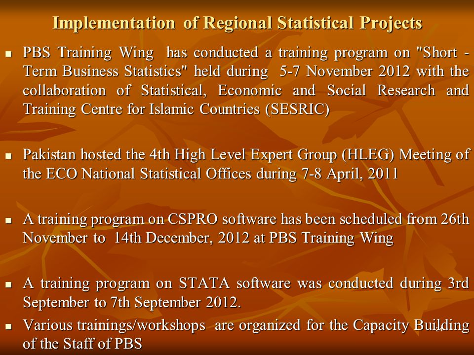 Implementation of Regional Statistical Projects