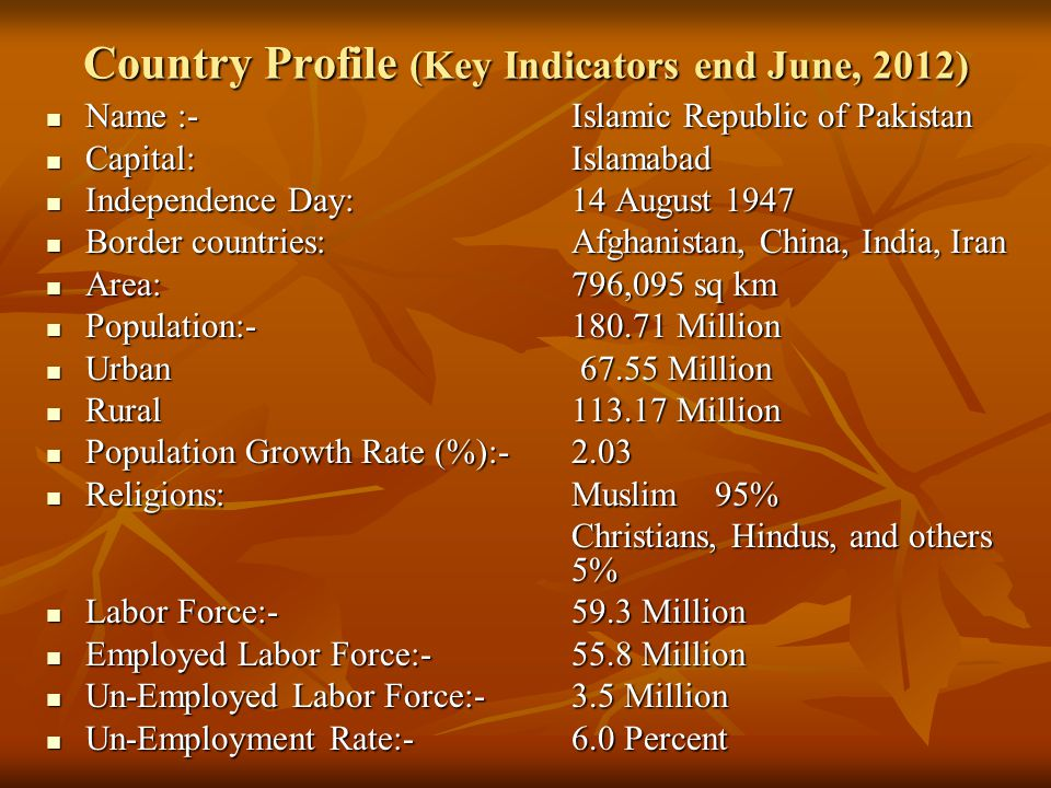 Country Profile (Key Indicators end June, 2012)