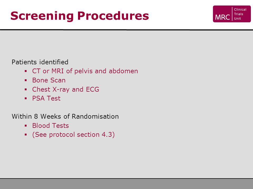 Screening Procedures Patients identified