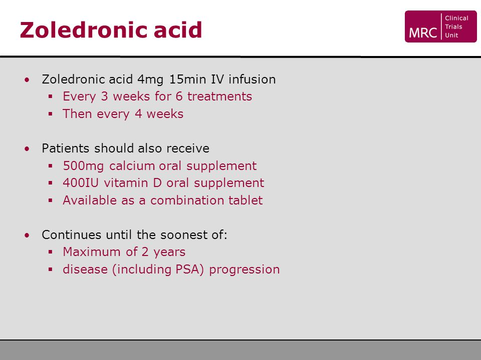 Zoledronic acid Zoledronic acid 4mg 15min IV infusion