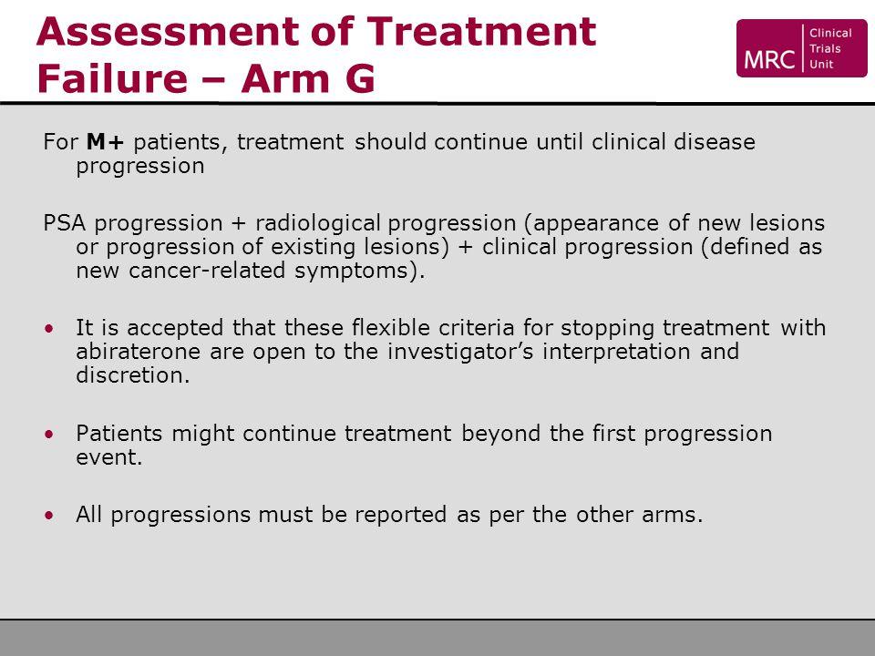 Assessment of Treatment Failure – Arm G