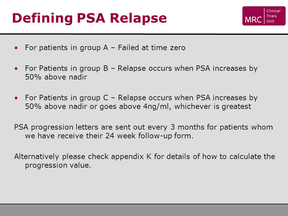 Defining PSA Relapse For patients in group A – Failed at time zero