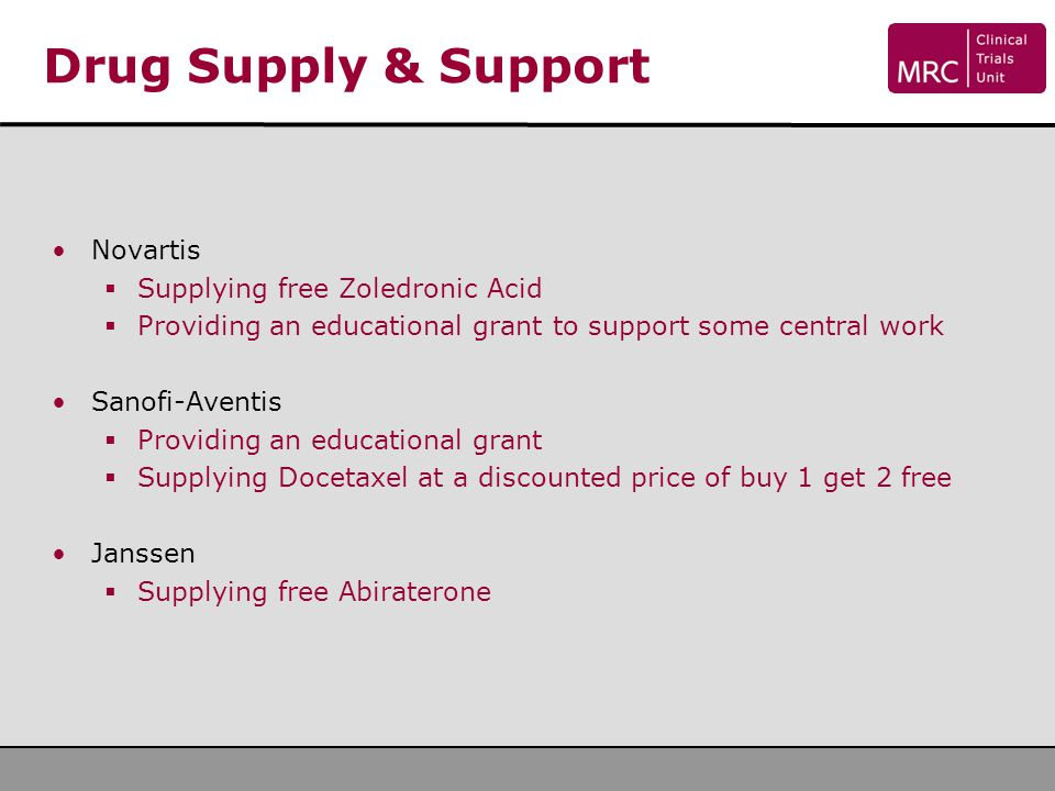 Drug Supply & Support Novartis Supplying free Zoledronic Acid