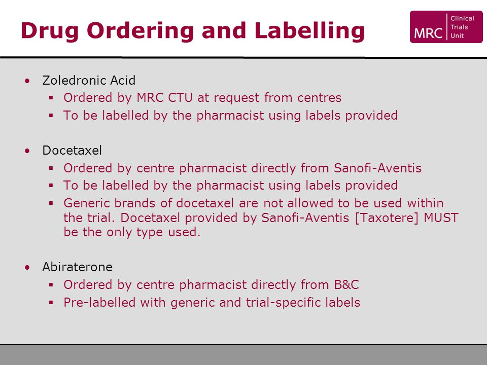 Drug Ordering and Labelling