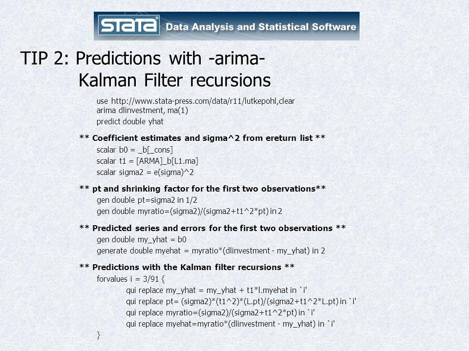 TIP 2: Predictions with -arima- Kalman Filter recursions