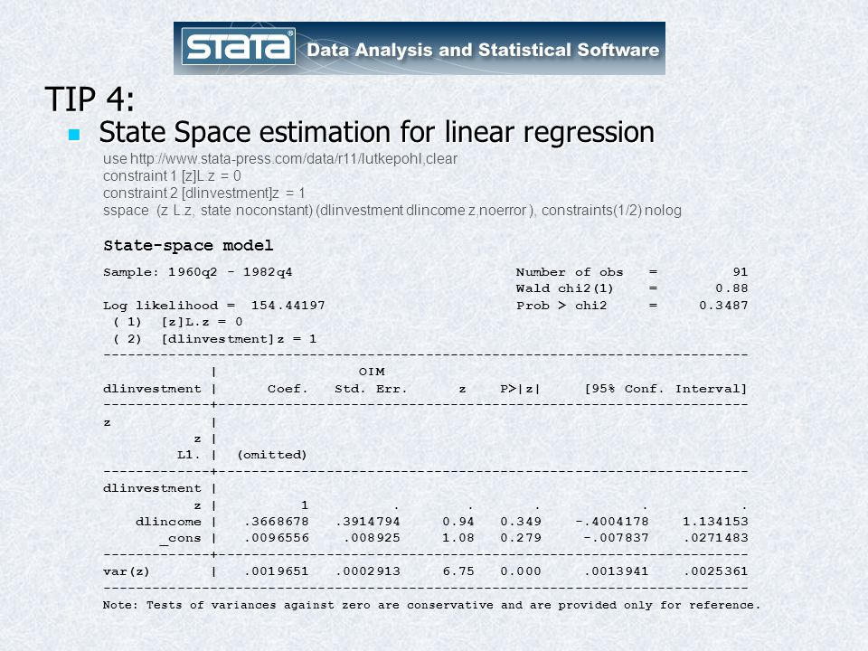 TIP 4: State Space estimation for linear regression State-space model