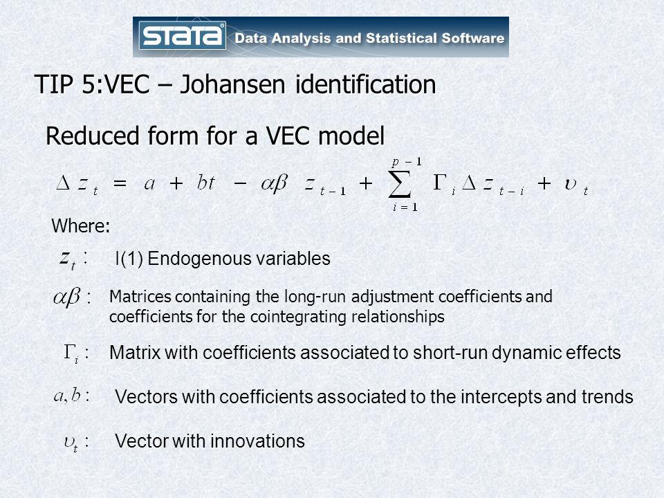 TIP 5:VEC – Johansen identification