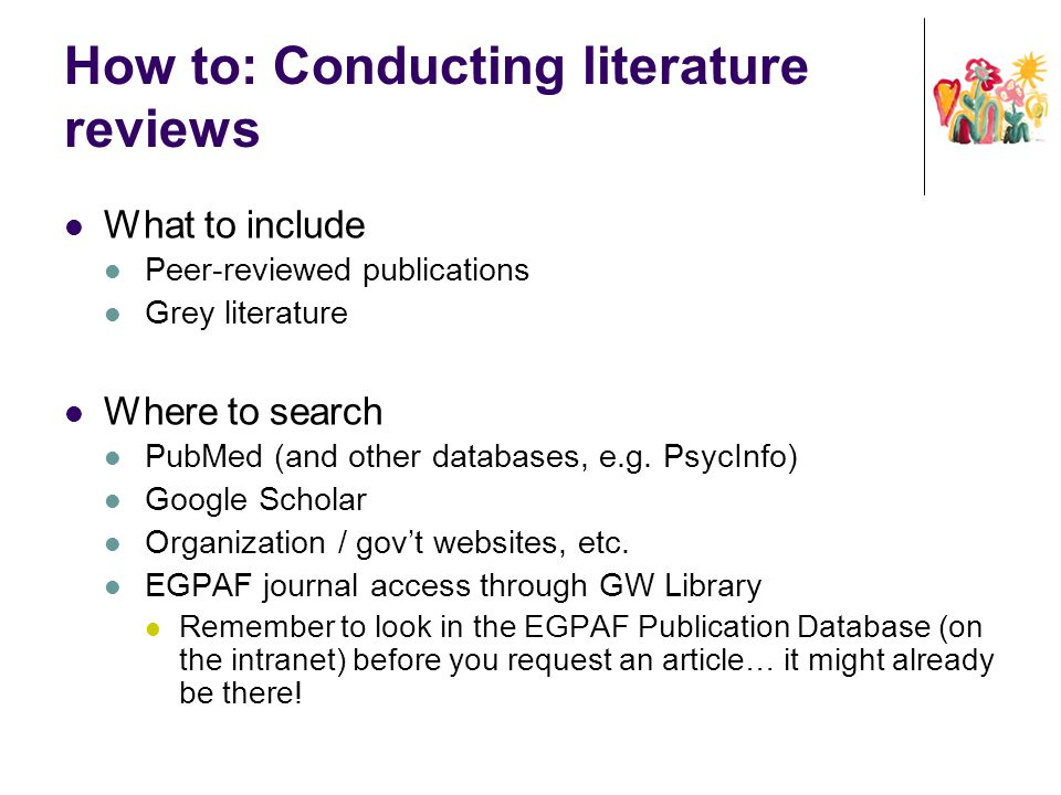 How to: Conducting literature reviews