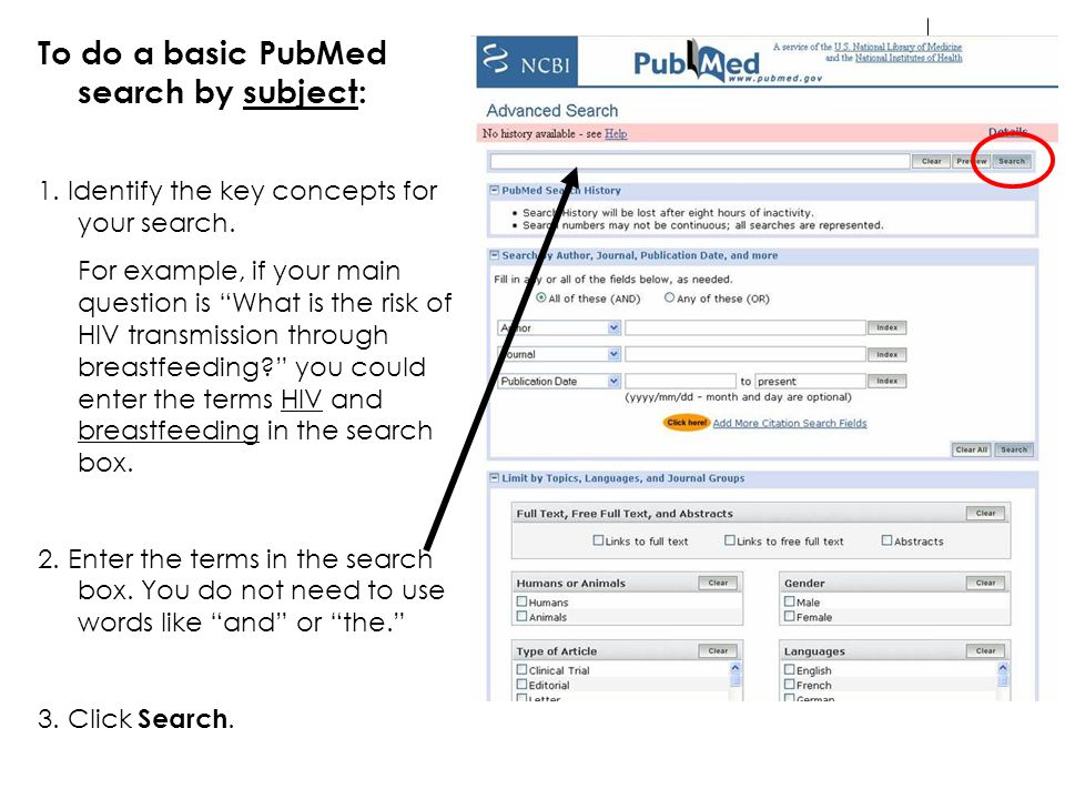 To do a basic PubMed search by subject: