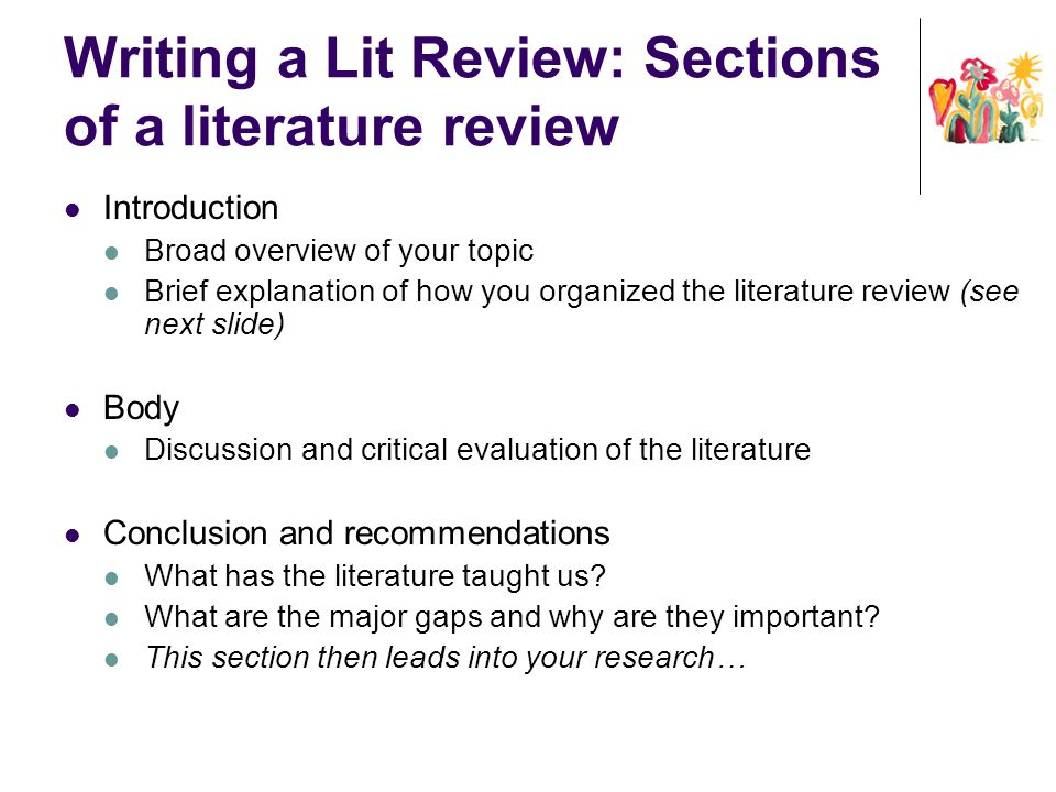 "explain the important of literature review in a research work A literature review is an essential component of almost any research project  it  is important to not only motivate why a topic warrants investigation but also  was  very work-intensive, but we managed to deliver a literature review at the  note  that the term ""systematic literature review"" is not clearly defined."