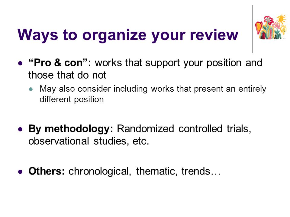 Ways to organize your review