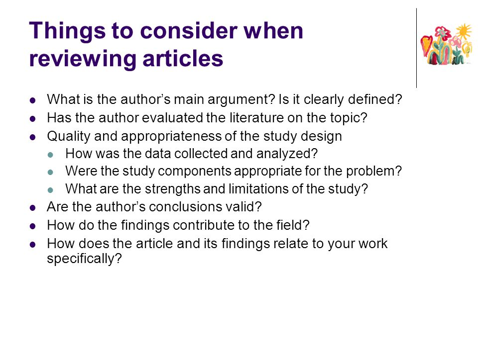 Things to consider when reviewing articles