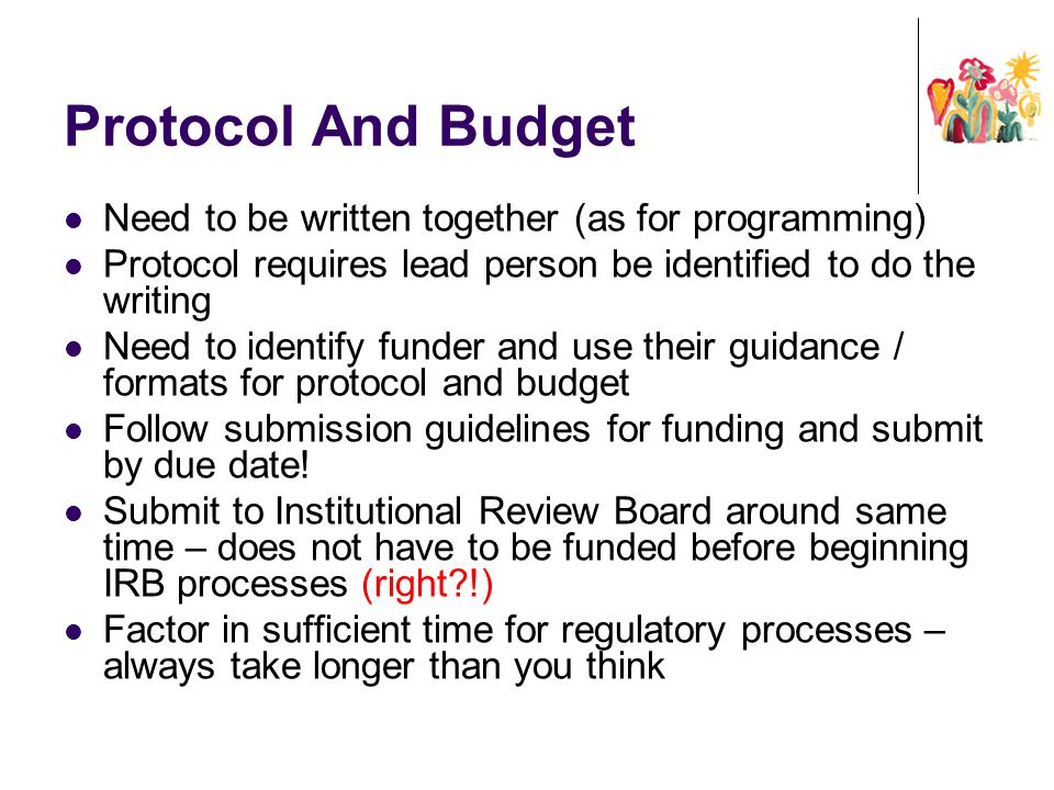 Protocol And Budget Need to be written together (as for programming)