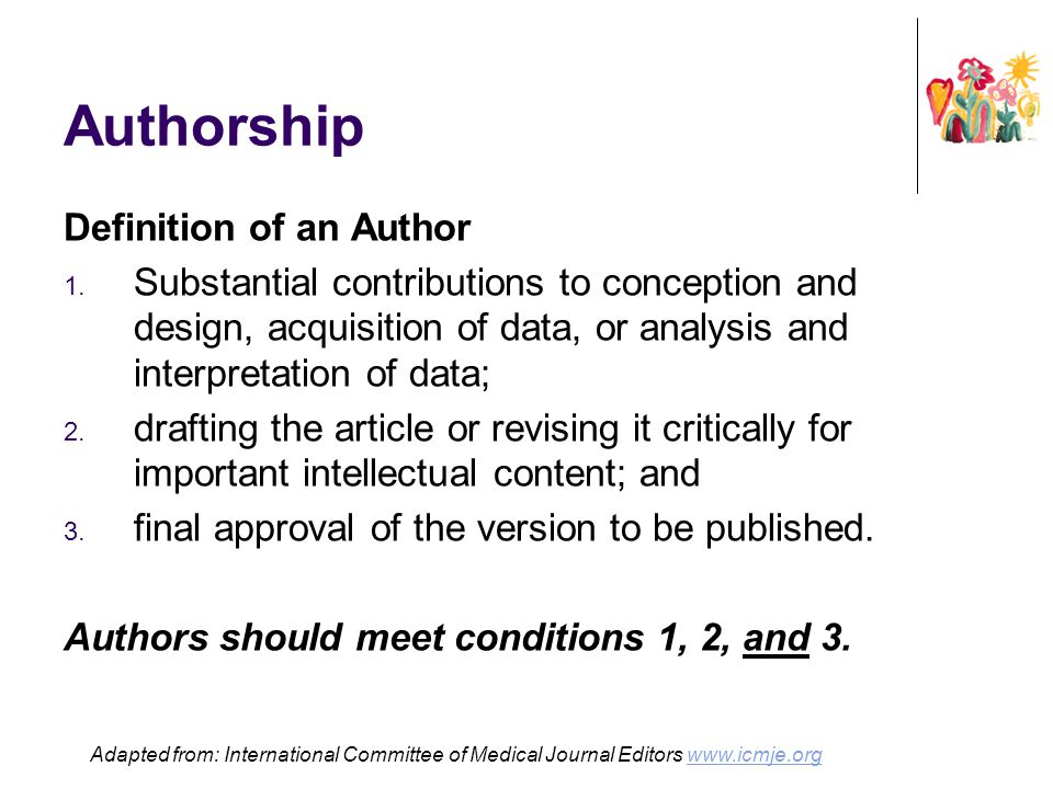 Authorship Definition of an Author
