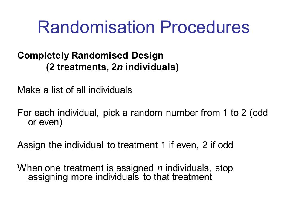 Randomisation Procedures