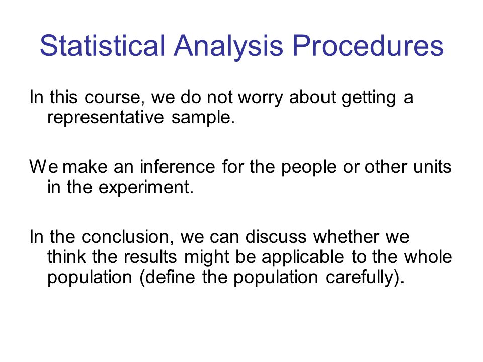 Statistical Analysis Procedures