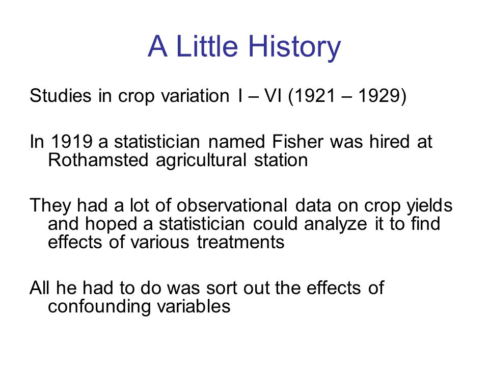 A Little History Studies in crop variation I – VI (1921 – 1929)