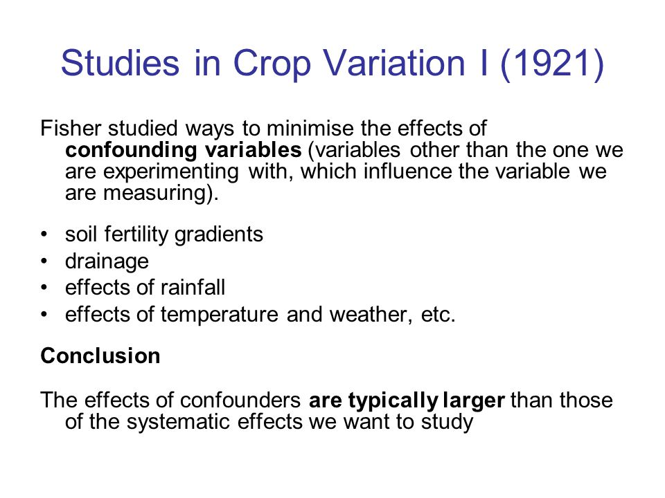 Studies in Crop Variation I (1921)