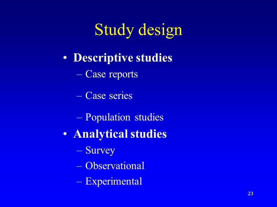 Study design Descriptive studies Analytical studies Case reports
