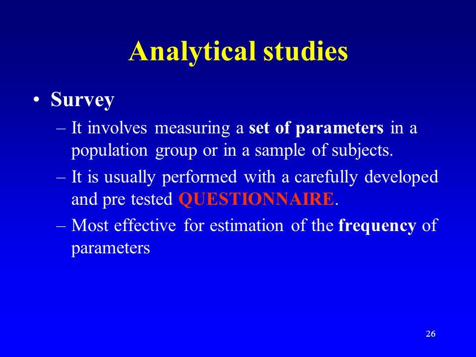 Analytical studies Survey