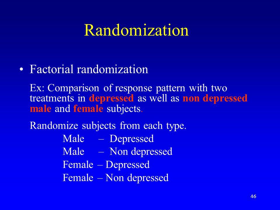 Randomization Factorial randomization