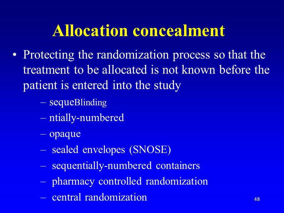 Allocation concealment