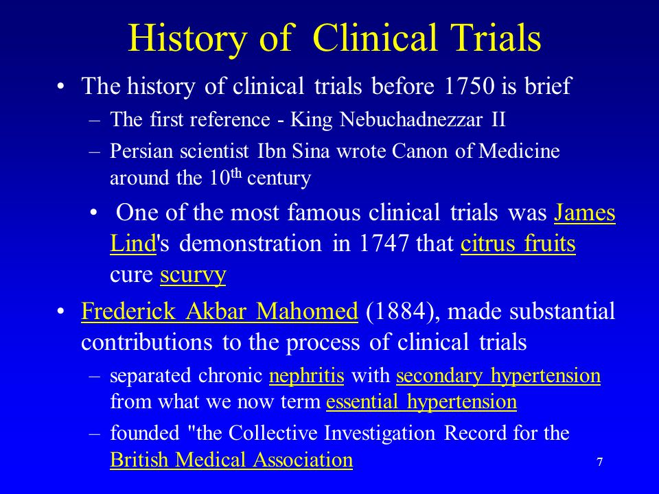 History of Clinical Trials