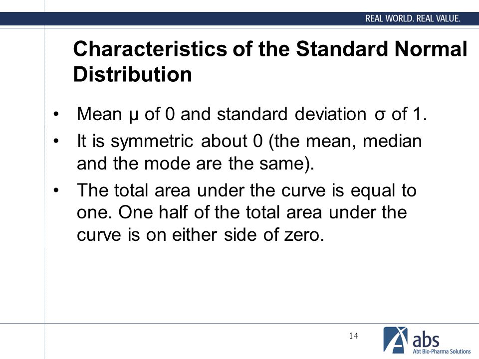 Characteristics of the Standard Normal Distribution