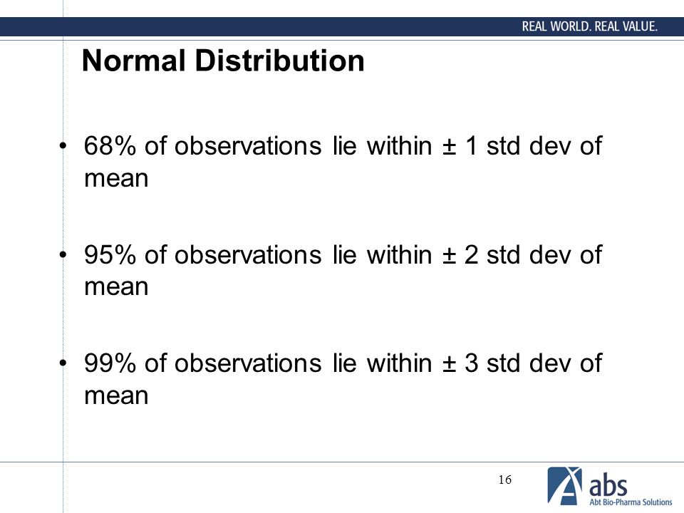 Normal Distribution 68% of observations lie within ± 1 std dev of mean