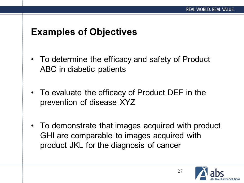 Examples of Objectives