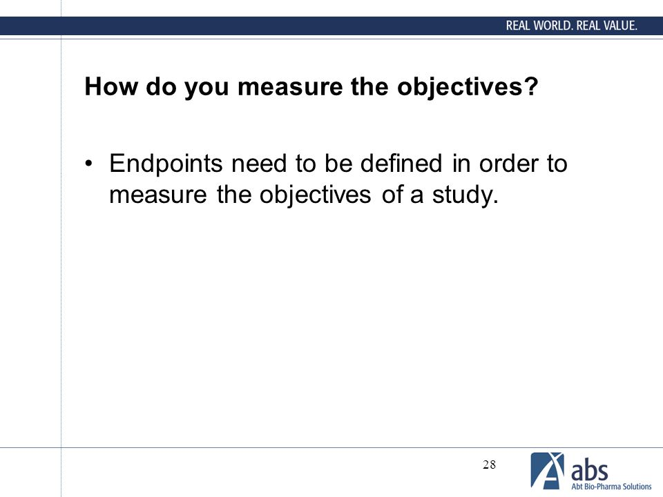 How do you measure the objectives