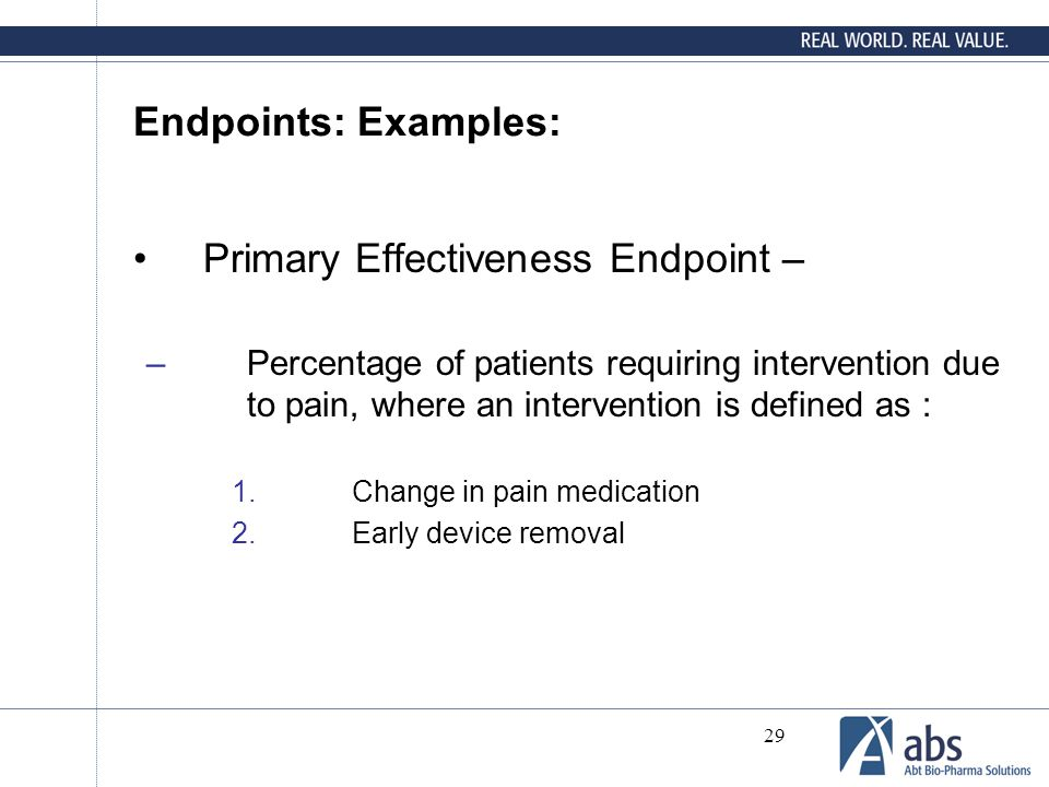 Primary Effectiveness Endpoint –
