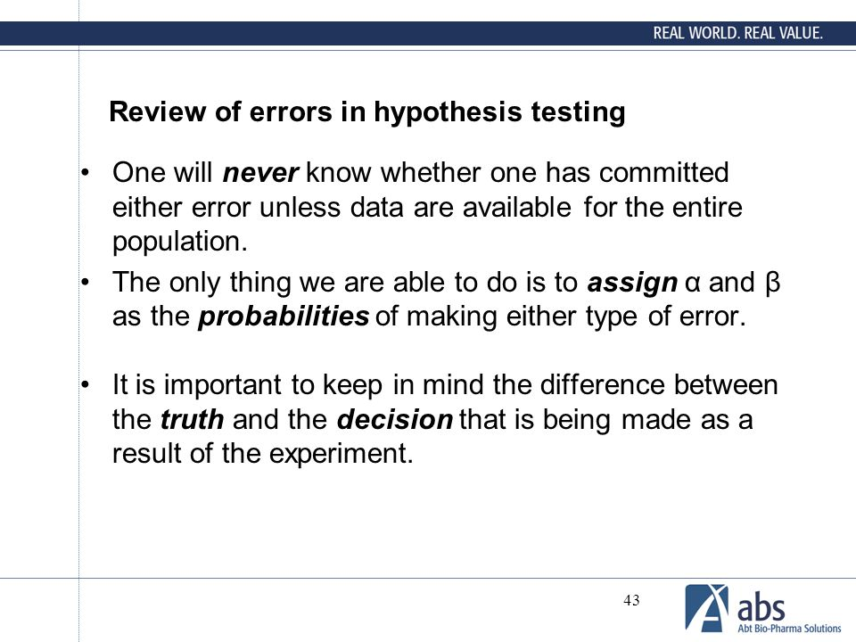 Review of errors in hypothesis testing