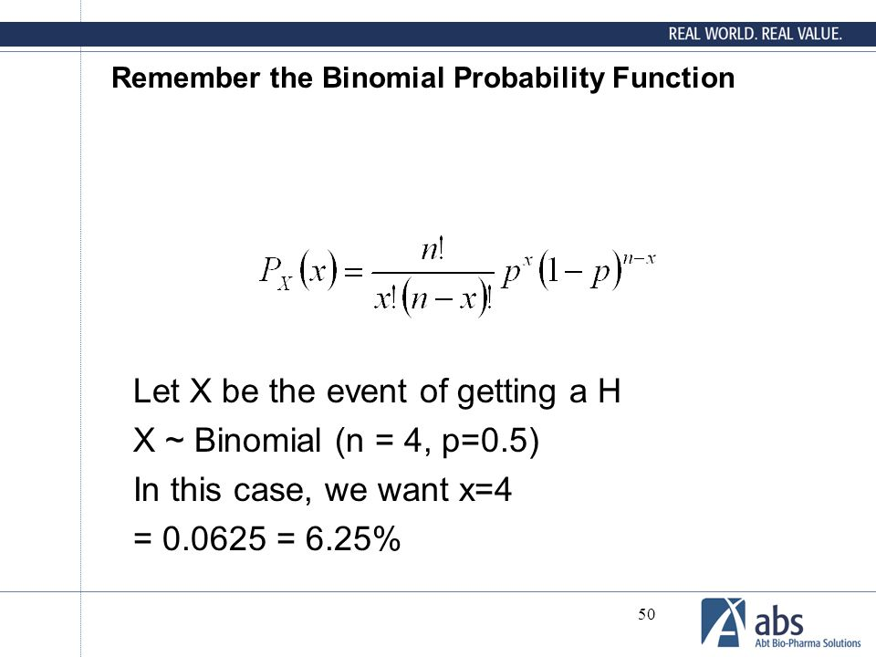Remember the Binomial Probability Function
