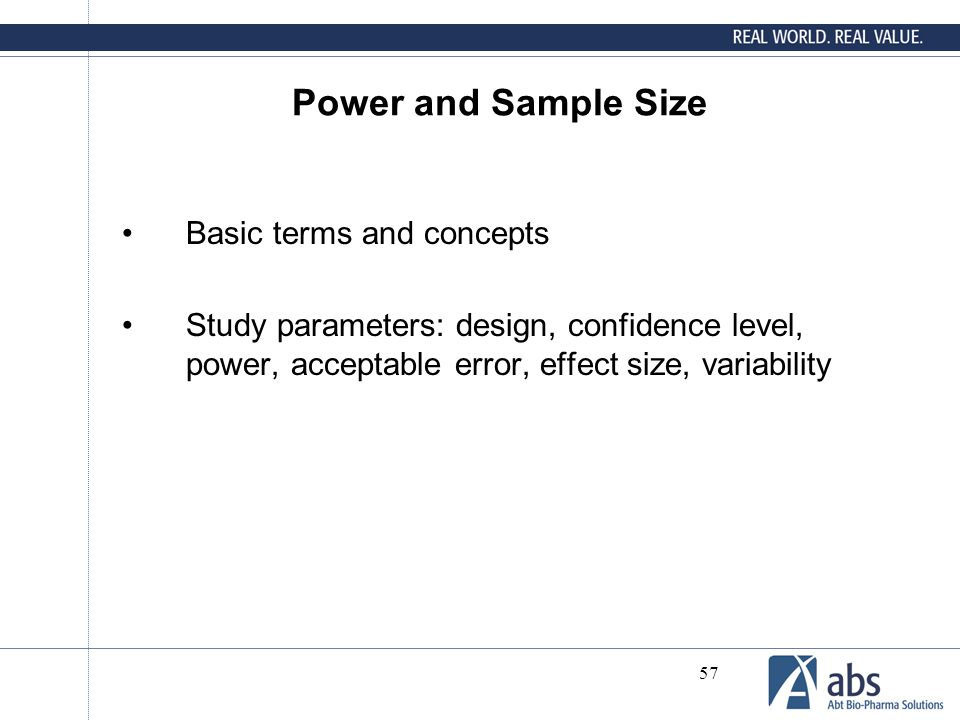 Power and Sample Size Basic terms and concepts